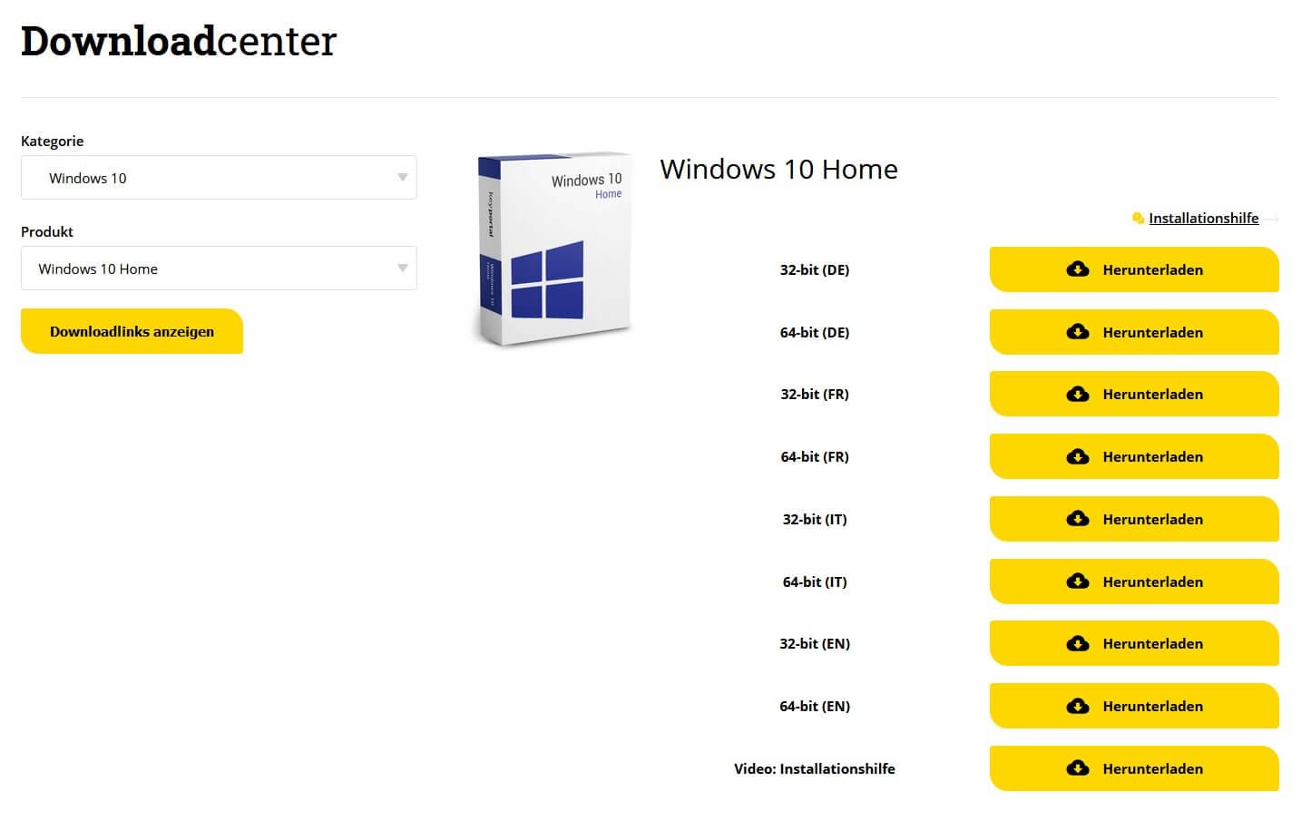 Im Downloadcenter von keyportal.es die passende Ausführung herunterladen