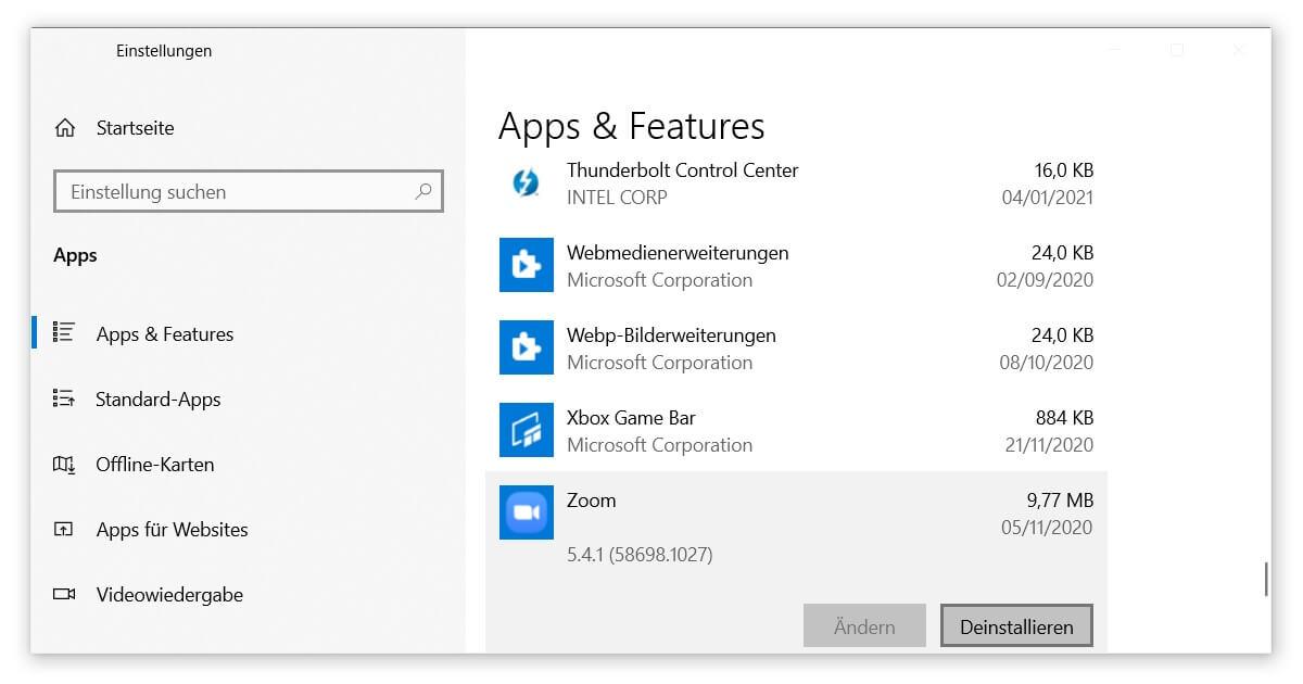 Apps deinstallieren, um Fehler beim Upgrade von Windows 10 zu verhindern